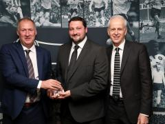 DCFC groundsman Nathan Scarff receives the Brian Clough Award 2017